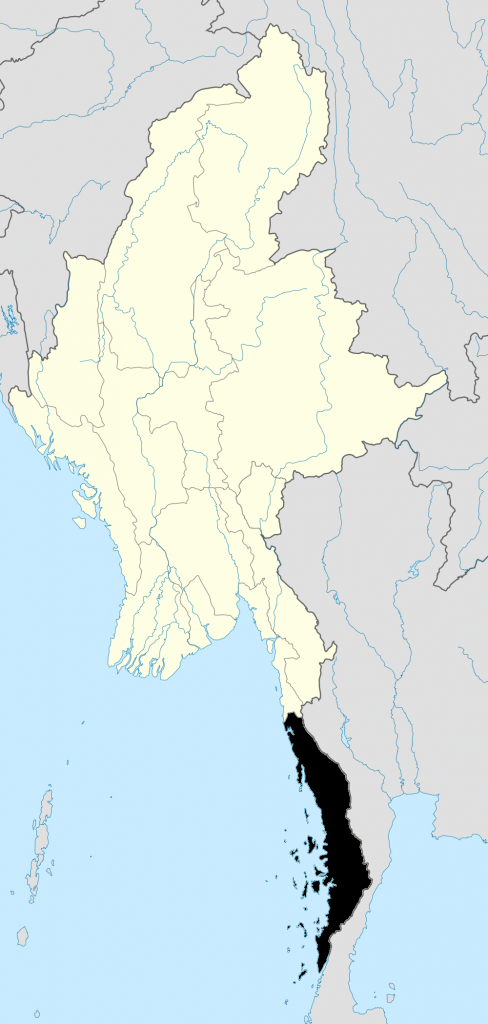 Map of Myanmar showing Dawei in Tanintharyi Region